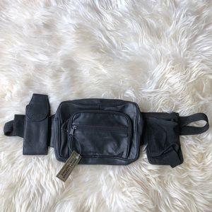 Vintage Black Leather Multi-Pocket Fanny Pack